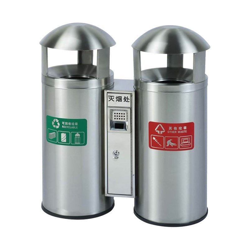 Brief description of Round stainless steel trash can classification environmental protection