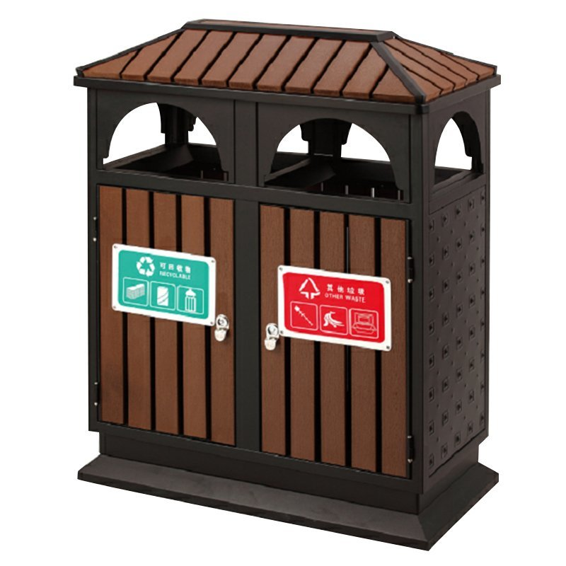 Chinese supplier outdoor house-shaped steel-wood metal double-class trash can