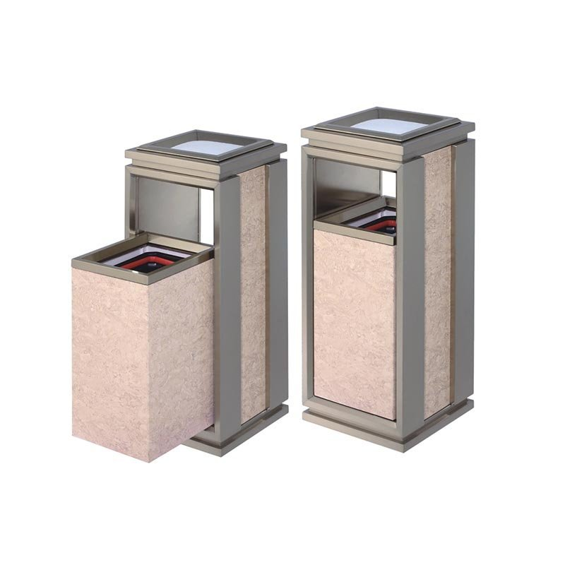 Indoor square single top open top stainless steel plating champagne gold mobile trash can
