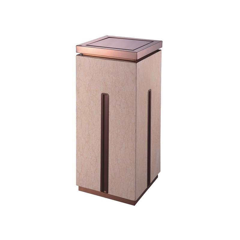 Details about High-grade indoor square single open top stainless steel gold flower beige marble trash can