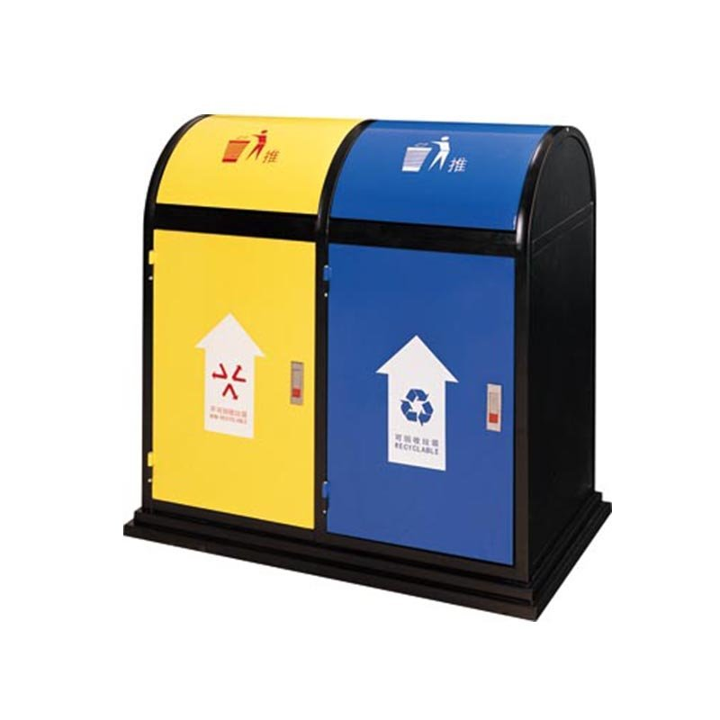 Metal baking paint two-color classification environmental trash can