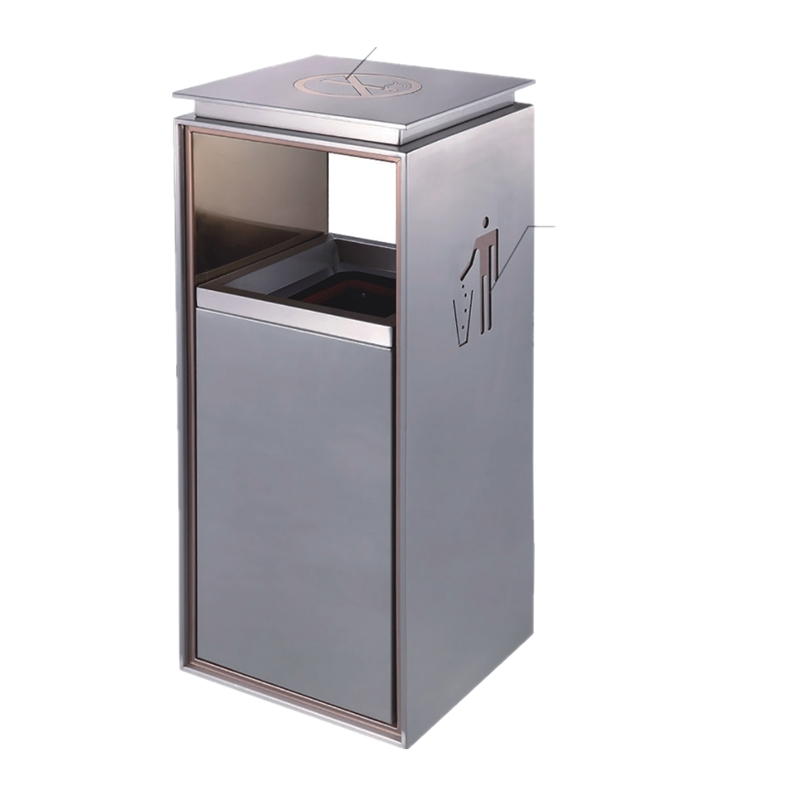 BOXIN Indoor silk print lobby stainless steel garbage bins/trash bins/rubbish bins for shopping malls