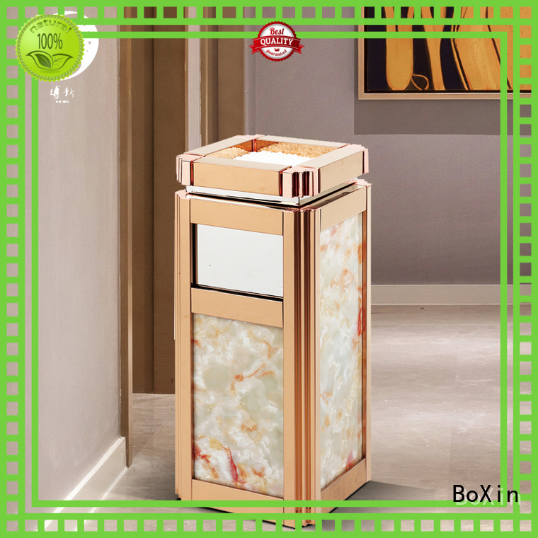 indoor garbage bins oak imported hotel trash can plating BoXin Brand
